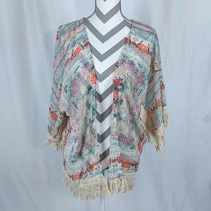 b7d62102711 Boho Baluoke Fringed Kimono Floral Topper Medium